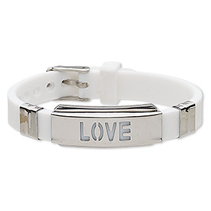 bracelet, softique™, silicone and stainless steel, white, 16mm wide with 39x16mm curved rectangle and cutout love, adjustable from 5-1/2 to 7-1/2 inches with buckle-style closure. sold individually.