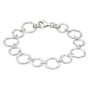bracelet, sterling silver, 11mm and 14mm hammered flat round, 6-1/2 inches with lobster claw clasp. sold individually.