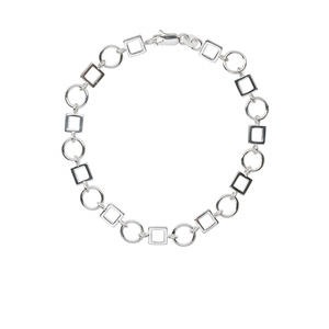 bracelet, sterling silver, 6mm open square and 8mm round, 7 inches with lobster claw clasp. sold individually.