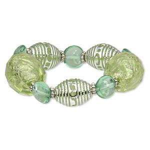 bracelet, stretch, acrylic / glass / silver-coated plastic, green and teal green, flat round and oval, 7 inches. sold individually.