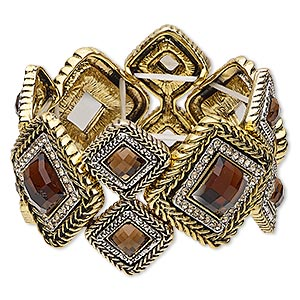 bracelet, stretch, acrylic / glass rhinestone / antique gold- / silver-finished pewter (zinc-based alloy), topaz brown and light topaz brown, 42.5mm wide with diamond design, 6-1/2 inches. sold individually.
