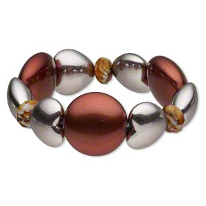 bracelet, stretch, acrylic and glass, silver and dark red, 13x9mm faceted rondelle / 22.5x20m puffed heart / 29mm puffed round, 7-1/2 inches. sold individually.