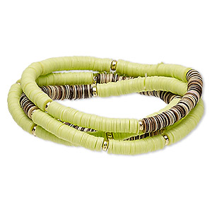 bracelet, stretch, acrylic and gold-coated plastic, lime green / brown / tan, 5mm wide, 6-1/2 inches. sold per pkg of 4.