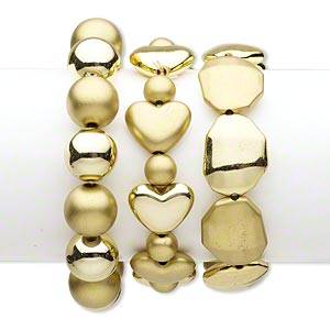 bracelet, stretch, acrylic, shiny and matte gold, 16mm round / 19x16mm puffed heart / 25x20mm octagon, 7-1/2 inches. sold per pkg of 3.