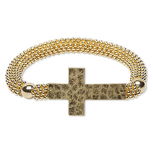 bracelet, stretch, acrylic with gold-finished brass and pewter (zinc-based alloy), gold, 22mm wide with 36x22mm hammered cross, 6 inches. sold individually.