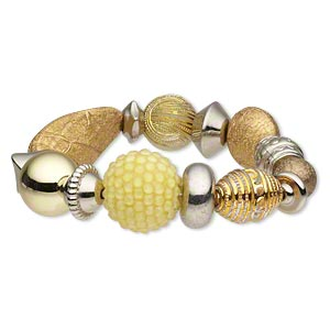bracelet, stretch, acrylic with silver- and gold-coated plastic, yellow, flat round, 7-1/2 inches. sold individually.