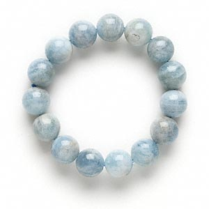 bracelet, stretch, aquamarine (heated), 14-16mm round, 7 inches. sold individually.