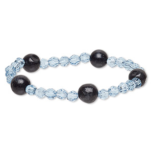 bracelet, stretch, blackstone (dyed) and acrylic, light blue, 5-6mm faceted round and 9-10mm round, 6 inches. sold individually.