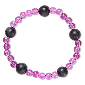 bracelet, stretch, blackstone (dyed) and acrylic, purple, 5mm and 9-10mm round, 6 inches. sold individually.