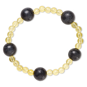 bracelet, stretch, blackstone (dyed) and acrylic, yellow, 5mm and 12-13mm round, 6-1/2 inches. sold individually.