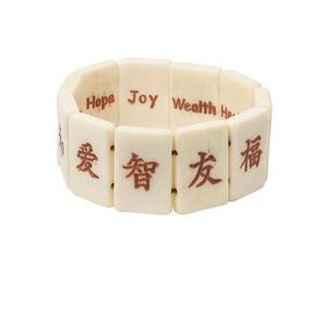 bracelet, stretch, bone (dyed), antiqued, 25x17mm double-sided rectangle with chinese character / english translation, 7 inches. sold individually.
