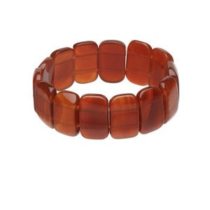 bracelet, stretch, carnelian (dyed / heated), 24x14mm rectangle, 7-1/2 inches. sold individually.