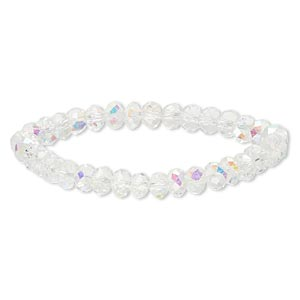 bracelet, stretch, celestial crystal, clear ab, 8x6mm faceted rondelle, 7 inches. sold individually.