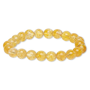 bracelet, stretch, crackle glass, honey, 8-9mm round, 6 inches. sold individually.
