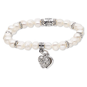 bracelet, stretch, cultured freshwater pearl (bleached) / glass rhinestone / silver- / antique silver-plated steel / pewter (zinc-based alloy), white and clear, 7mm wide with 10x10mm heart, 6-1/2 inches. sold individually.