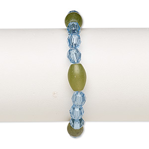 bracelet, stretch, dark olive new jade (natural) and acrylic, blue, 8-9mm faceted round and 13x9mm-14x10mm oval, 7 inches. sold individually.