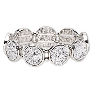 bracelet, stretch, druzy (imitation) / silver-coated plastic / silver-plated pewter (zinc-based alloy), white, 19mm wide with 19mm flat round, 6-1/2 inches. sold individually.