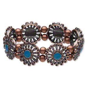 bracelet, stretch, enamel / crystal rhinestone / antiqued copper-plated brass, turquoise blue / light blue / dark blue, 21mm flower, 6-1/2 inches. sold individually.