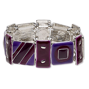 bracelet, stretch, enamel and silver-plated pewter (zinc-based alloy), purple and plum, 23mm wide with square and rectangle, 6-1/2 to 7 inches. sold individually.