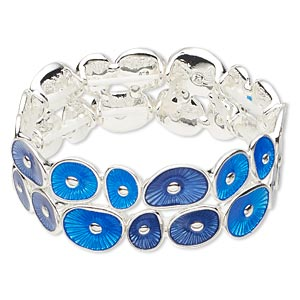 bracelet, stretch, epoxy and silver-finished pewter (zinc-based alloy), light blue and dark blue, 23mm wide with circle design, 6 inches. sold individually.