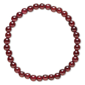 bracelet, stretch, garnet (natural), 4-5mm round, 6 inches. sold individually.