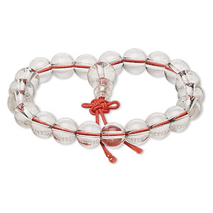 bracelet, stretch, glass and acrylic, clear and red, 7-8mm round, 5-1/2 inches. sold individually.