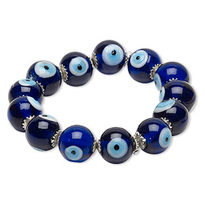 bracelet, stretch, glass and silver-finished steel, multicolored, 14mm round with wards off the evil eye design, 6 inches. sold individually.
