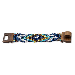 bracelet, stretch, glass and stained wood, turquoise blue and multicolored, 46mm wide with chevron design, 7 inches with hook-and-eye clasp. sold individually.