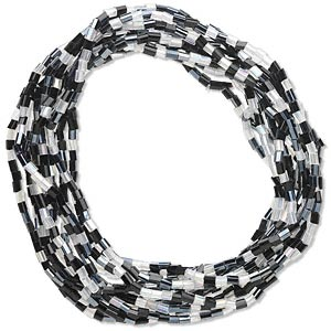 bracelet, stretch, glass, black and white, 2mm wide, 7 inches. sold per pkg of 12.