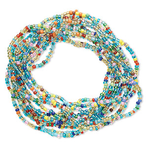 bracelet, stretch, glass, multicolored, 3mm wide, 7 inches. sold per pkg of 12.