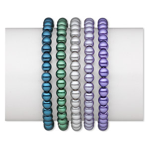 bracelet, stretch, glass pearl, assorted colors, 6mm round, 6 inches. sold per pkg of 5.