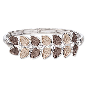 bracelet, stretch, glass rhinestone / enamel / imitation rhodium-coated plastic / imitation-rhodium-finished pewter (zinc-based alloy), light brown / dark brown / clear, 20mm wide with leaves, 7 inches. sold individually.