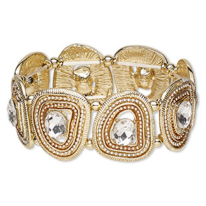 bracelet, stretch, glass rhinestone / silver- / copper-plated / gold-finished pewter (zinc-based alloy), clear, 28mm wide with freeform, 6-1/2 inches. sold individually.