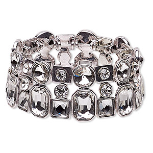 bracelet, stretch, glass rhinestone and imitation rhodium-plated pewter (zinc-based alloy), clear, 29mm wide, 7-1/2 inches. sold individually.