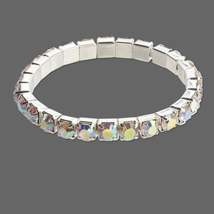 bracelet, stretch, glass rhinestone and silver-plated brass, clear ab, 6mm round, 6 inches. sold individually.