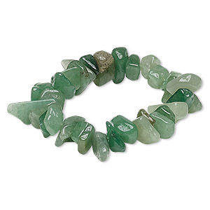 bracelet, stretch, green aventurine (natural), extra-large chip, 7-1/2 inches. sold individually.