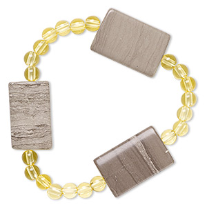 bracelet, stretch, grey and cream marble (natural) and acrylic, yellow, 5mm round and 25x15mm-26x18mm flat rectangle, 6-1/2 inches. sold individually.