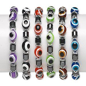 bracelet, stretch, hemalyke™ (man-made) and resin, multicolored, oval with wards off the evil eye design, 5-1/2 inches. sold per pkg of 6.