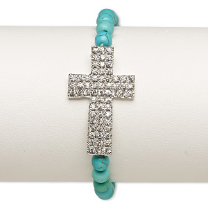 bracelet, stretch, magnesite (dyed / stabilized) / glass rhinestone / silver-plated pewter (zinc-based alloy), clear and turquoise blue, 35x22mm cross, 6 inches. sold individually.