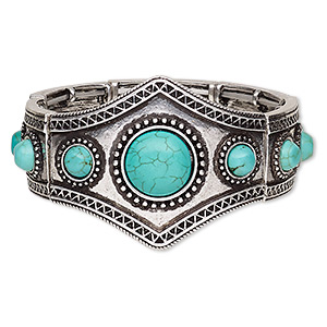bracelet, stretch, magnesite (dyed / stabilized) and antique silver-plated pewter (zinc-based alloy), blue, 42mm wide with round, 7 inches. sold individually.