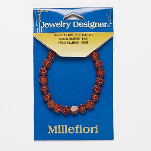 bracelet, stretch, millefiori glass, red and multicolored, 8mm flat round, 6-1/2 inches. sold individually.