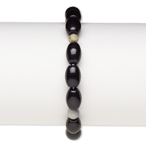 bracelet, stretch, multi-gemstone (natural / dyed / heated) and glass, multicolored and opaque black, 5-6mm round and 10x7mm-11x8mm barrel, 6 inches. sold individually.