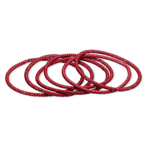bracelet, stretch, painted steel, red, 3mm twisted coil, 7-1/2 inches. sold per pkg of 6.