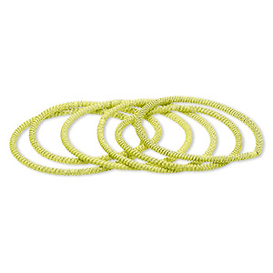 bracelet, stretch, painted steel, yellow, 3mm twisted coil, 7-1/2 inches. sold per pkg of 6.