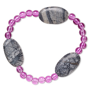 bracelet, stretch, picasso marble (natural) and acrylic, purple, 5mm round and 24x14mm-25x15mm flat oval, 6-1/2 inches. sold individually.