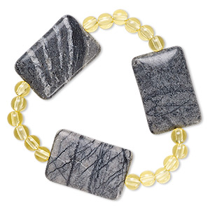 bracelet, stretch, picasso marble (natural) and acrylic, yellow, 5mm round and 30x19mm-30x20mm flat rectangle, 6-1/2 inches. sold individually.