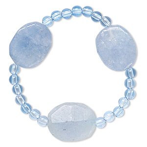 bracelet, stretch, quartz (dyed) and acrylic, blue, 5mm round and 25x20mm-26x21mm faceted puffed oval, 6 inches. sold individually.