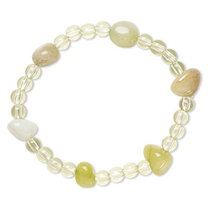 bracelet, stretch, quartz (dyed) and acrylic, multi-green and light yellow-green, 5mm round and small tumbled nugget, 6 inches. sold individually.