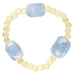 bracelet, stretch, quartz (dyed) and acrylic, yellow and blue, 5mm round and medium to large faceted nugget, 7 inches. sold individually.