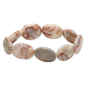 bracelet, stretch, redline marble (natural), 19x14mm-20x15mm flat oval, 6 inches. sold individually.
